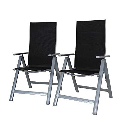 Strandgut07 Klappstuhl Aluminium Gartensessel 9fach 2tlg. Set verstellbar Version ergonomischer Sitz & Rücken Campingsessel schwarz/Silber