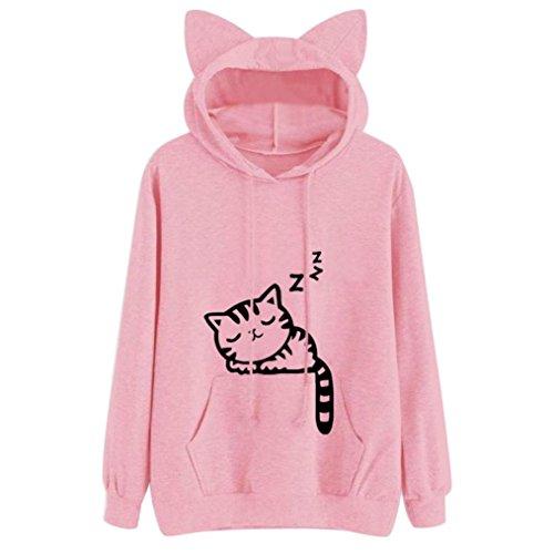 Damen Katze Kapuzenpulli, Lenfesh Cartoon Langarm Kostüm Tier Cosplay Sweatshirt Tops (S, Rosa 2) (Cartoons Ideen Kostüm)