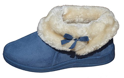 Ladies Famous DUNLOP Fur Collar Slippers 'BESSIE' (6, Blueberry)