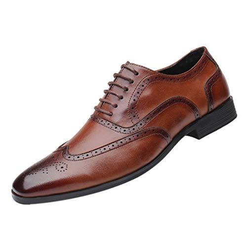 MUCHAOHAI Herren Retro Lederschuhe Business Leisure atmungsaktive Lederschuhe Offizielle Schuhe mit Lederschuhen