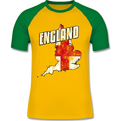 EM 2016 - Frankreich - England Umriss Vintage - zweifarbiges Baseballshirt für Männer Gelb/Grün