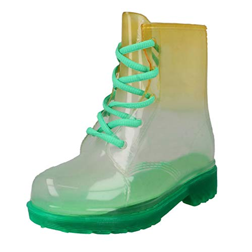 Spot On Childrens/Kids Lace Up Transparent Colour Gradient Wellington Boots