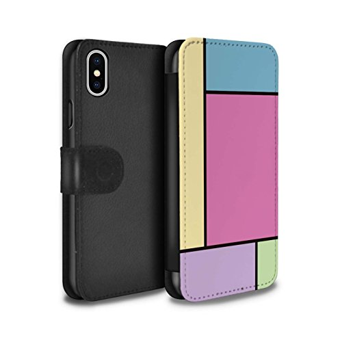 Stuff4 Coque/Etui/Housse Cuir PU Case/Cover pour Apple iPhone X/10 / 3 Carreaux/Violet Design / Carreaux Pastel Collection 5 Carreaux/Rose