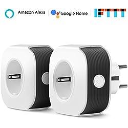Prise connectée WiFi, Muzili Prise connectée fonctionnant avec Contrôle vocal Amazon Alexa et Google Home, Contrôlable depuis une application mobile depuis n'importe où et n'importe quand (2)