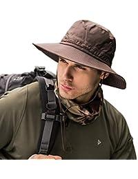 xluckx Impermeabile Uomo Cappello da Sole Estivo a Tesa Larga Cappello da  Pescatore Protezione UV Cappello c2b476931a55