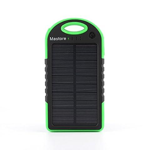 Chargeur de batterie portable Chargeur solaire de Port Mastore Chargeur solaire 5000mAh Solar Power Bank Dual USB pour iPhone iPad Cell Phone Smart Phone Tablet antipoussière Étanche et antichoc. (Vert)