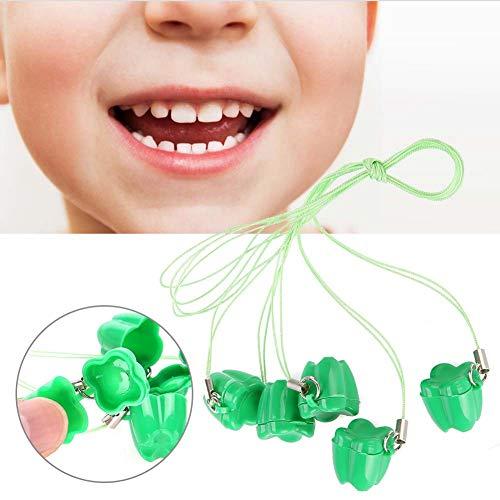 Baby Zahn Box, 5 stücke Kunststoff Baby zahn Erinnerungsboxen Aufbewahrungsbox mit Seil Saver Halsketten Speichern Organizer Andenken für Kinder Speicher Boxen Jungen Mädchen(Grün)