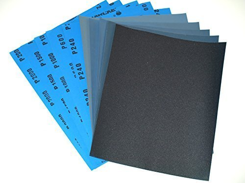 Wet and Dry Sandpaper Mixed Grits 240/600/1000/1500/2000 10 sheets 2 per grit 230 x 280mm Waterproof Paper Highest Quality STARCKE MATADOR