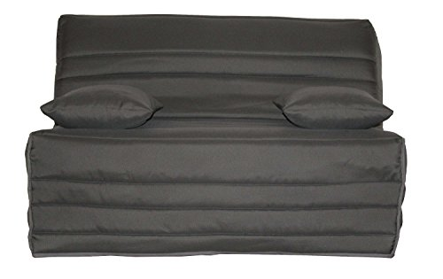 CANAPES TISSUS Edelweiss Banquette Bz, Tissu, Anthracite, 142 x 96 x 90 cm