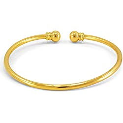 Dolly Jewels Dazzling Plain Bracelet Or Kada For Men's In 14K Gold Plating