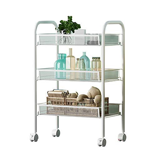 Küchenwagen Allzweck-Regale, 3-Tier-Servierwagen, 27X46X65cm-Metallgitter, robuste Rollwagen, geeignet für Küche, Zuhause, Büro, (Farbe : Weiß)