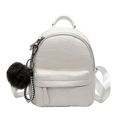 Frauen Mädchen Damen Mode Mini Pu Leder Rucksack Umhängetasche Rucksack Weiß Schwarz,White-OneSize