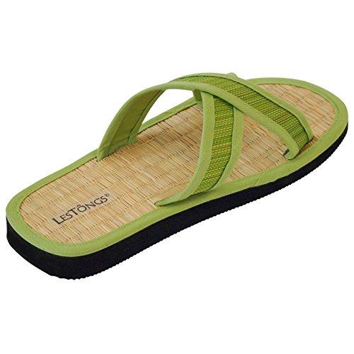 Japanwelt Zimtlatschen JUNCUS-X Classic | Zimt Sandalen mit Zimtsohle, vegan und ideal für den Sommer | Die beliebten Les Tongs Zimt Schuhe aus Vietnam Grün