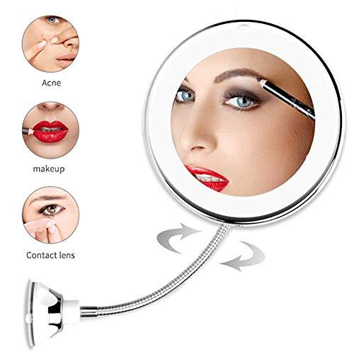 DFTFTT 5X 10X Vergrößerungs Make-up Spiegel mit LED-Licht Kosmetikspiegel 360-Grad-Drehung-Schönheits-Spiegel für Tabletop Badezimmer Reisen,5X