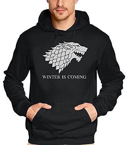 WINTER IS COMING - Game of Thrones, Hoodie - Sweatshirt mit Kapuze, schwarz-grau GR.S