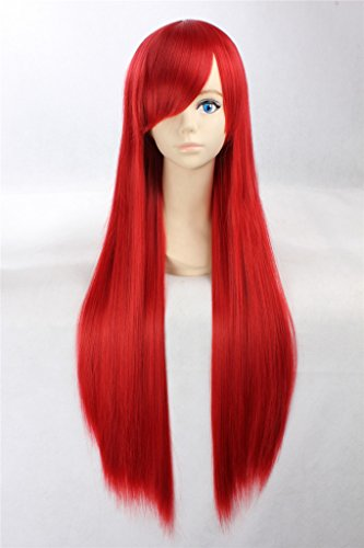 COSPLAZA Cosplay Wigs Perruque Fairy Tail Erza Scarlet raide longue rouge Anime Cheveux