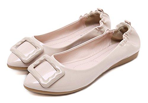 Minetom Damen Elegant Pu-Leder Sommer Frühling Herbst Beiläufige Flache Schuhe Beige