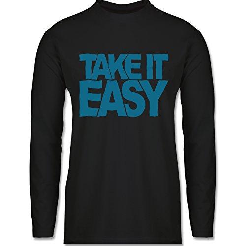 Shirtracer Statement Shirts - Take It Easy - Herren Langarmshirt Schwarz