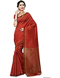 Mimosa Women's Raw Silk Saree With Blouse Piece (Prs10-Mrn,Maroon,Free Size)