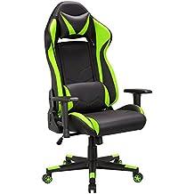 Gaming Stuhl Chair,Schreibtischstuhl,ergonomisch Gamer Bürostuhl PU Leder Kunstleder,Computer Racing Stuhl mit verstellbarer Sitzhöhe,Gaming Sessel Rückenlehne kippbar(90-135°),PC Gamer Stuhl+Belastbarkeit bis 120kg (Grün/Schwarz)