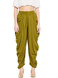 BITTERLIME Womens Crepe Solid Pleated Dhoti Pant (BLMG12782S, Olive, Small)