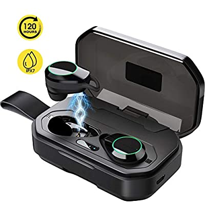 Updated 2019 Version Wireless Headphones, Bluetooth 5.0 True Wireless Earbuds IPX7 Waterproof Built-in Mic Headset Premium Sound ?Total 120 Hrs Playtime? with 3000mAh Charging Case for iOS, Android