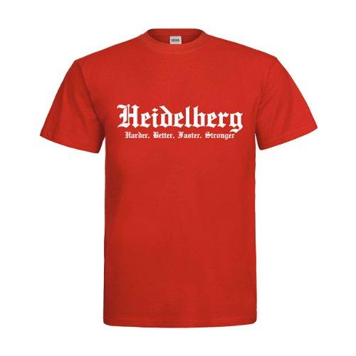 Preisvergleich Produktbild MDMA T-Shirt Heidelberg Harder,  Better,  Faster,  Stronger mdma-t00323-72 Textil red / Motiv weiss Gr. M