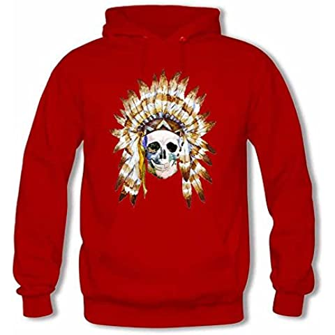 Tribal Style Skull with Indian Feather Hat Women's Cotton Hoodies Hooded T shirt - Tribal Pouch