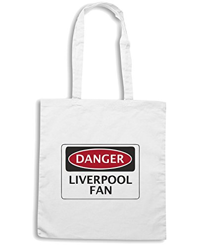 T-Shirtshock - Borsa Shopping WC0299 DANGER LIVERPOOL FAN, FOOTBALL FUNNY FAKE SAFETY SIGN Bianco