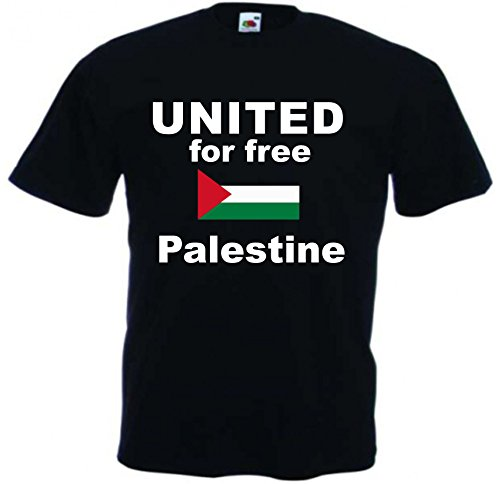 T-Shirt Palestine Palästina Gaza Peace Free Ramallah Westjordan Flag Westbank PLO Arafat Grösse XS - XXL Motiv 5 Schwarz