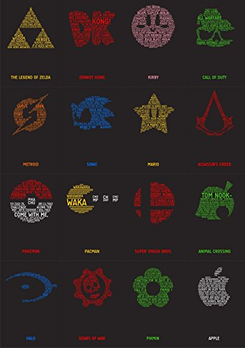 VIDEO GAME TYPOGRAPHY - Video Game Wall Poster Print - 30CM X 43CM Zelda Pokemon Nintendo