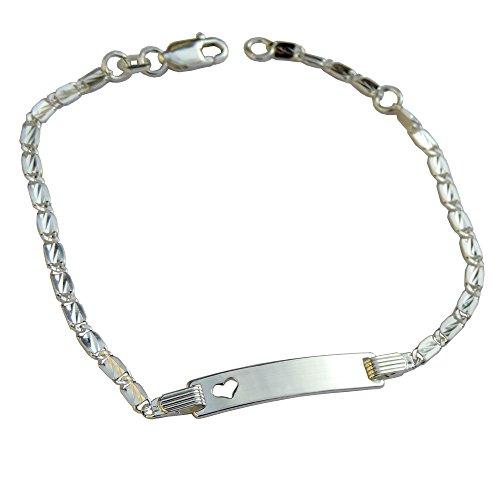 GravUp: 925 Sterling Silber Armband mit fein bearbeiteten Plättchen als Gliederband mit Herz 16 – 18 cm mit SOFORTGRAVUR + VORSCHAU: Gravur auf der Vorderseite: (Vorname oder Datum)