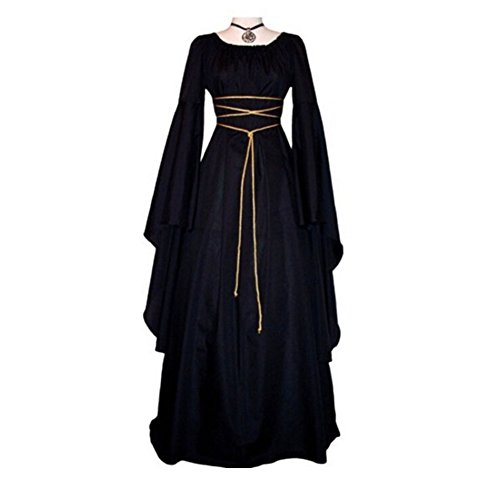 men Unregelmäßiges Kleid Mit Gürtel | Viktorianische Gotik Cosplay-Party Kostüm Kleider Schwarz (2XL, Schwarz) (Halloween-kostüme Mit Einem Schwarzen Kleid)