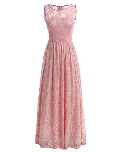 Wedtrend Frauen Spitzen lange Brautjungfer Kleid Party Kleid Cocktailkleid WTL10007 Pink XL (Kleider Für Frauen, Die Brautjungfer)