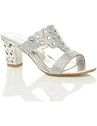 f305c019de2 Womens Ladies mid high Block Heel Prom Diamante Evening Slip on Mules  Sandals Size