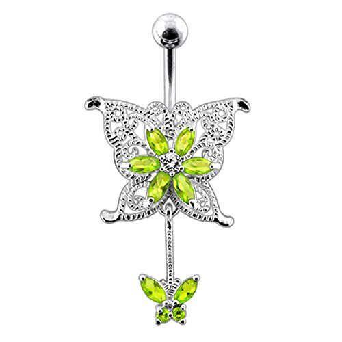 Bijou de Corps Anneau de Nombril motif Papillon mère et enfant en Argent Sterling avec Tige 14G -3/8 Inch (1.6x 10mm) en Acier chirurgical 316L Light Green
