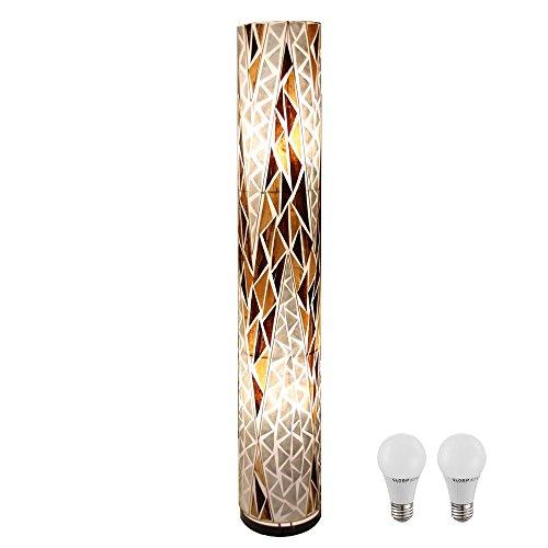 14 Watt LED Steh Lampe Wohnraum Beleuchtung Textil Stand Leuchte Muscheln