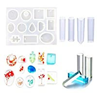Jatidne Silicone Resin Moulds for Jewellery Making Epoxy Resin Moulds 16 Designs with Hanging Hole Jewellery Moulds for Resin DIY Craft