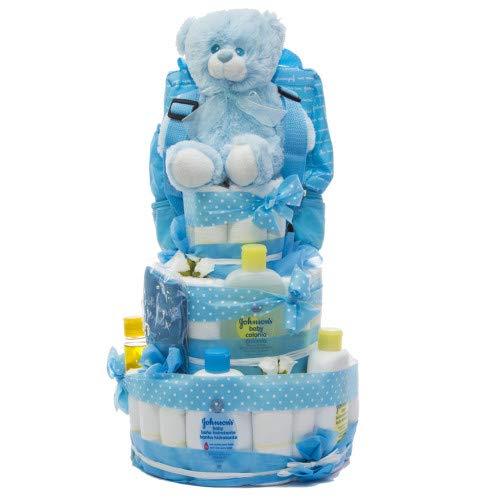 Tarta de pañales DODOT y Neceser Johnson's baby 3 pisos niño - Regalo original para recién nacido