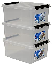 SmartStore 35083903 3er-Set Clipbox Smart Store Classic 15, 14 Liter , transparent