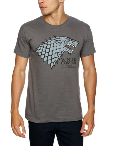 Trademark - Game Of Thrones Logo Stark Direwolf, T-shirt da uomo,  manica corta, Grau - Charcoal, Small
