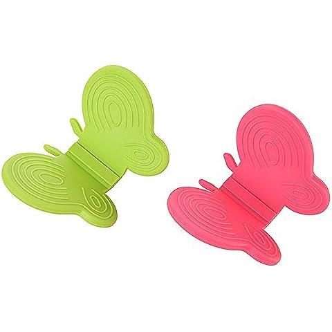 Farfalla Forno Maniglia Guanto in silicone Hot piatto ciotola Pot Holder Carrier anticalcare morsetto clip (Anti Scald Dispositivo)
