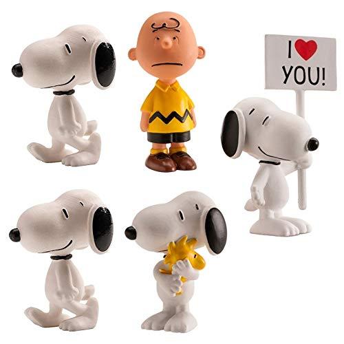 Set mit 5 Cake Topper Figuren für Snoopy Peanuts Cake Dekoration