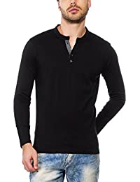 Maniac Men's Fullsleeve Solid Henley Neck Cotton T-Shirts