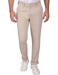 Linenlove Men's Regular Fit Dobby, Dark Cream 100% Cotton Formal Trouser For Men