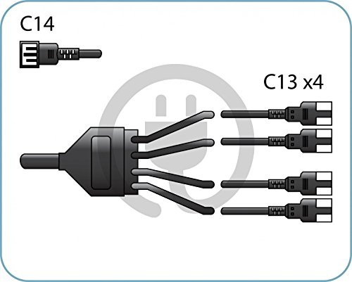 Special/professional splitter/ black power cord C14/ 4xC13 /10A 250V/ 2.0 m (Pc Power Cord Splitter)