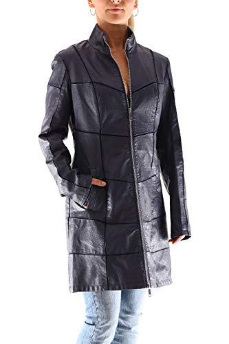 Rino & Pelle Britas Damen Faux Leder Mantel, Farbe:Navy Blue, Größe:40 -