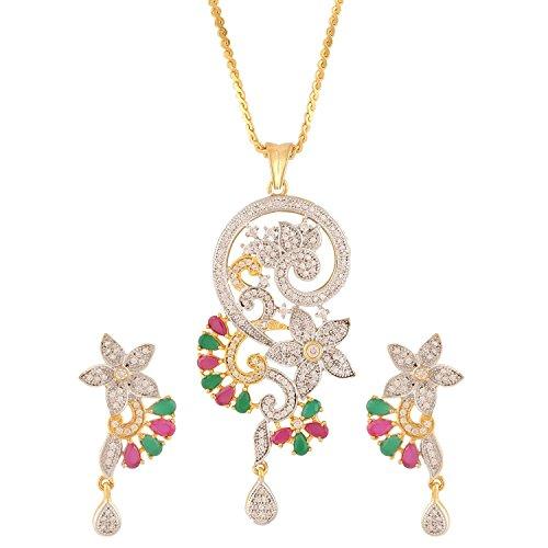 swasti Jewels americano femminile diamante fiore zirconi cubici Set Gioielli Ciondolo e orecchini, base metal, colore: Multi-Colour, cod. AIBPE44M