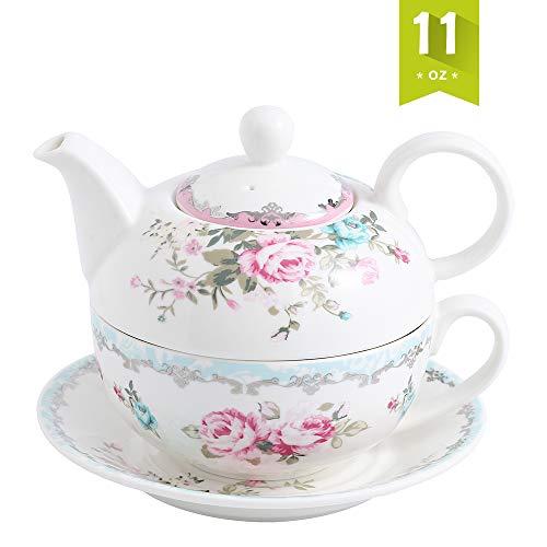 MALACASA, Serie Sweet.Time, Porzellan Teeservice Teeset 4 teilig Set Teekanne mit Tasse und Untersetzer Blumen Teekannen & Kaffekannen Geschenk - Tee-kanne Keramik Große
