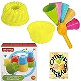 HHO Fisher Price Baubecher + Sandspielzeug Eiswaffeln mit Portionierer + Gugelhupfform